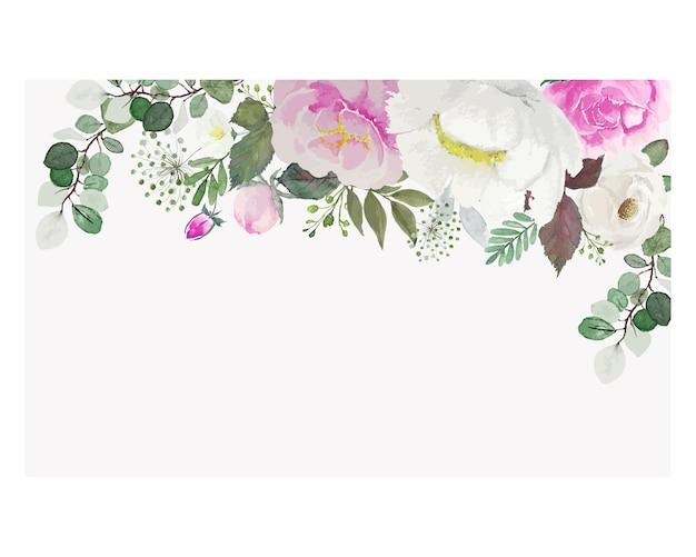 사각형 부드러운 수채화 위에 녹색 잎 빈티지 흰색과 분홍색 꽃
