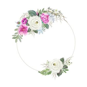 둥근 원형 와이어 프레임 빈티지 흰색과 분홍색 장미 꽃 꽃다발 수채화