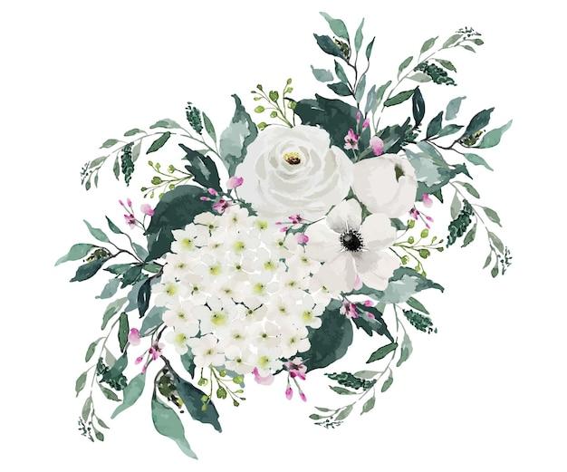 緑の葉とヴィンテージの白い花の花束