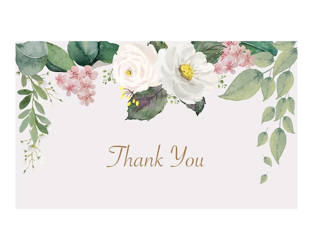 Vintage white and pink flower with green leaves on top of rectangle soft color frame thank you card