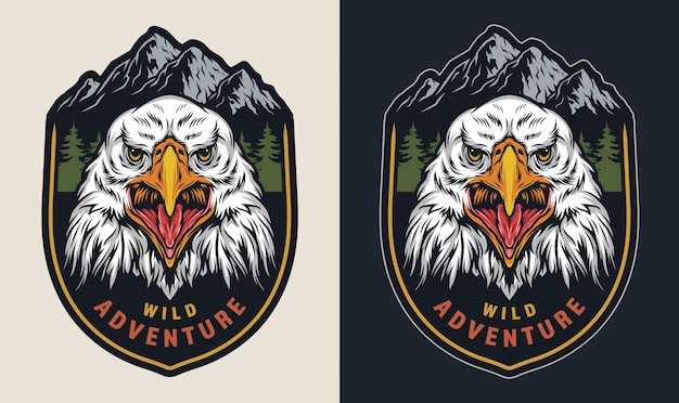 Vintage wild adventure colorful emblem