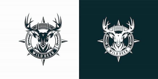 Vintage wild deer label and logo template