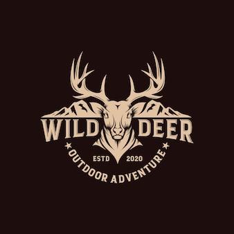 Vintage wild deer label and logo template