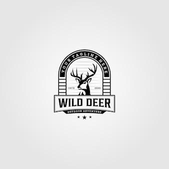 ビンテージの野生の鹿のロゴイラストデザイン