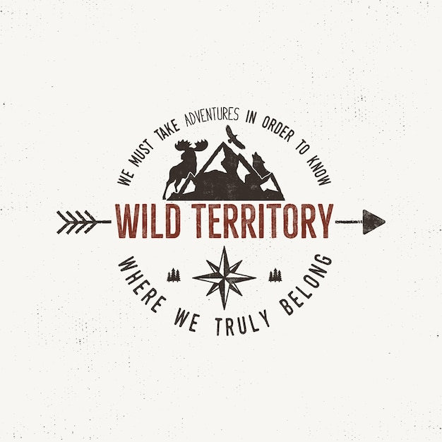 Vintage wild emblem. retro illustration of wilderness .