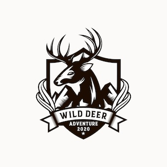 Vintage wild nature deer label and logo template
