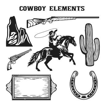 Набор старинных ковбойских элементов дикого запада