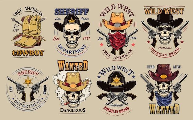 Vintage wild west labels set