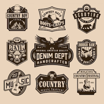 Vintage wild west labels