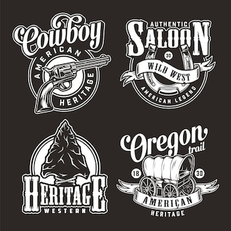 Vintage wild west monochrome badges
