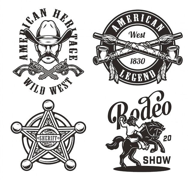 Vintage wild west monochrome labels
