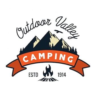 Vintage Wildlife Summer Camp Camping Activities Logo Badge Illustration