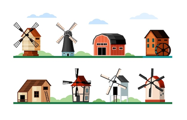Vintage windmills set. wood and brick buildings with blades for grinding flour rustic old design and air powered traditional architecture with water and electric turbine. vector agriculture flat.
