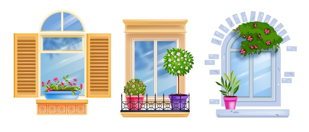 빈티지 창 프레임 컬렉션, 문턱, 흰색, 집 식물, 나무, 장미 꽃에 고립 된 유리.