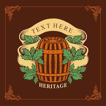 Vintage wine heritage for wine label a wooden barrel