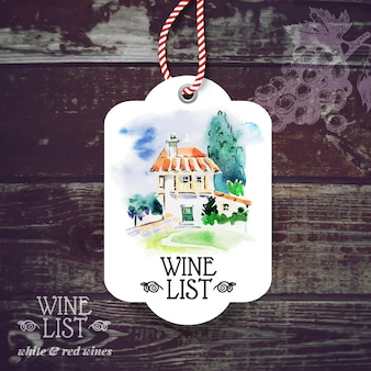 Vintage wine label. hand drawn watercolor illustration. vector wooden background with sketch