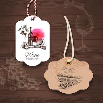 ヴィンテージワインラベル。手描きイラスト。スケッチと木製の背景