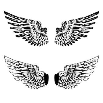 Старинные крылья на белом фоне. элементы для логотипа, этикетки, эмблемы, знака, торговой марки. иллюстрации.