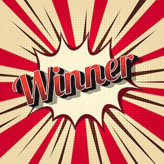 Vintage winner in comic design style. champion, achievement abstract illustration