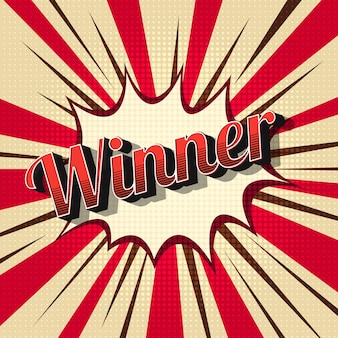 コミックデザインスタイルのヴィンテージ優勝者。チャンピオン、達成の抽象的なイラスト