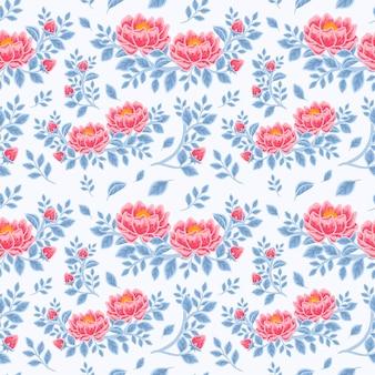 赤い牡丹の花と青い葉の枝の配置のヴィンテージ冬の花のシームレスなパターン