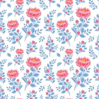Vintage winter floral seamless pattern of red peony flowers and blue leaf branch arrangements