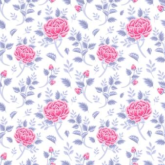 Vintage winter floral seamless pattern of violet pink rose bouquet, flower buds and leaf branch arrangements