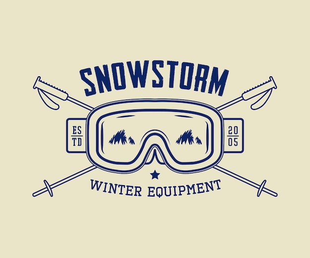 Vintage winter sport or winter equipment logo emblem badge label and watermark with mask