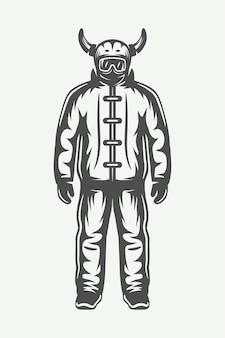 Vintage winter sportsman in ski suit. monochrome graphic art. vector illustration.