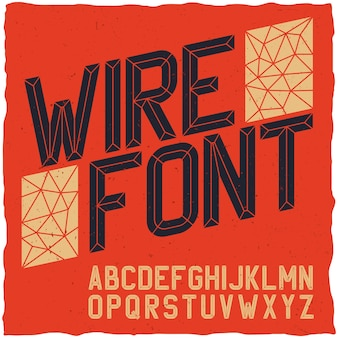 Vintage wire font