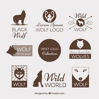 Collezione di logo lupo vintage