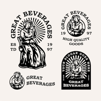 Vintage woman with a bottle of liquor or milk for beverages company logo
