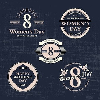 Vintage women day badge collection