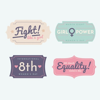 Vintage women's day label/badge collection