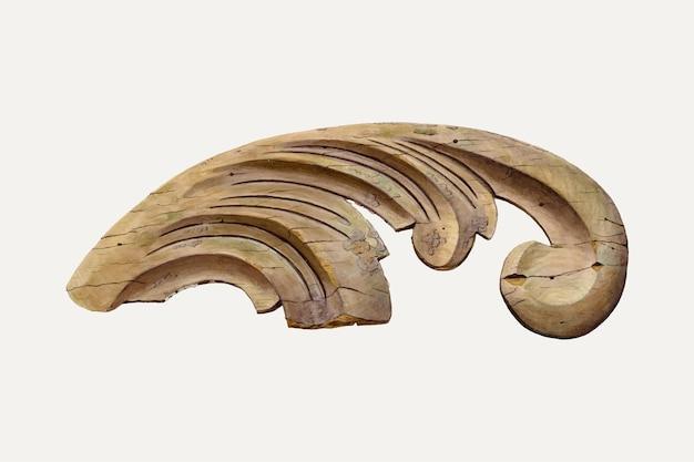 Illustrazione vettoriale di scultura in legno vintage, remixata dall'opera d'arte di clayton clements