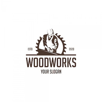 Vintage wood works silhouette logo