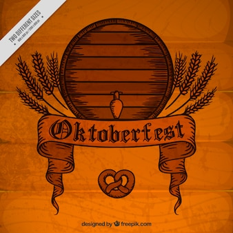 Vintage wooden background with barrel oktoberfest festival