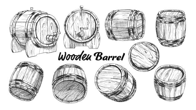 Vintage wooden barrel in different side set.