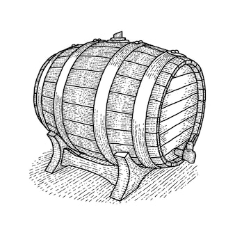 中に良いウイスキーやビールが入ったヴィンテージの木製バレルポスター