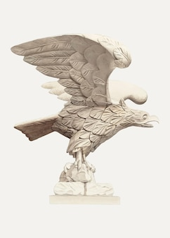 Vintage wooden eagle illustration vector, remixed from the artwork by henry murphy