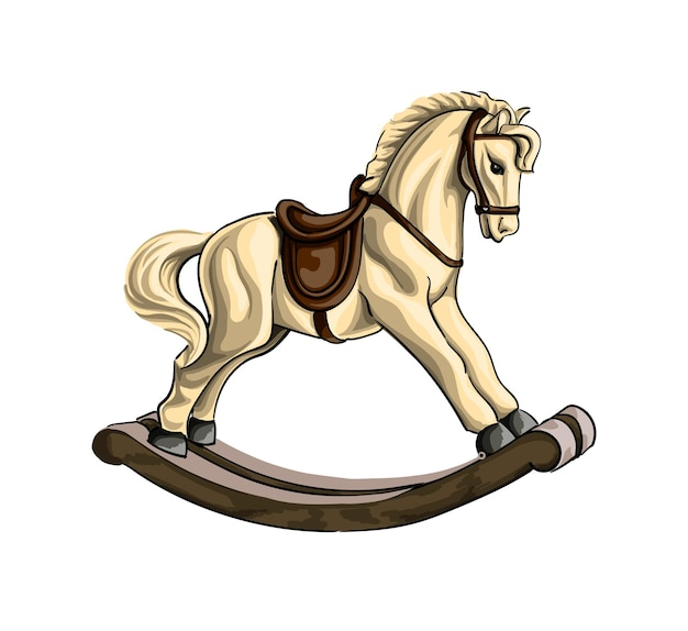 Vintage wooden rocking horse toy colored drawing realistic vector illustration of paints