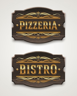 Vintage wooden signs for pizzeria and bistro with golden lettering and decorative elements - illustration