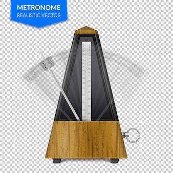 Vintage wooden style of classic metronome with pendulum in motion on transparent  realistic