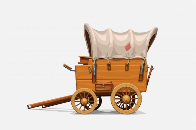 Vintage wooden wagon on white
