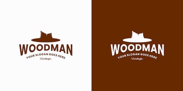 帽子のロゴデザインとヴィンテージ木こりの木こりのロゴデザイン