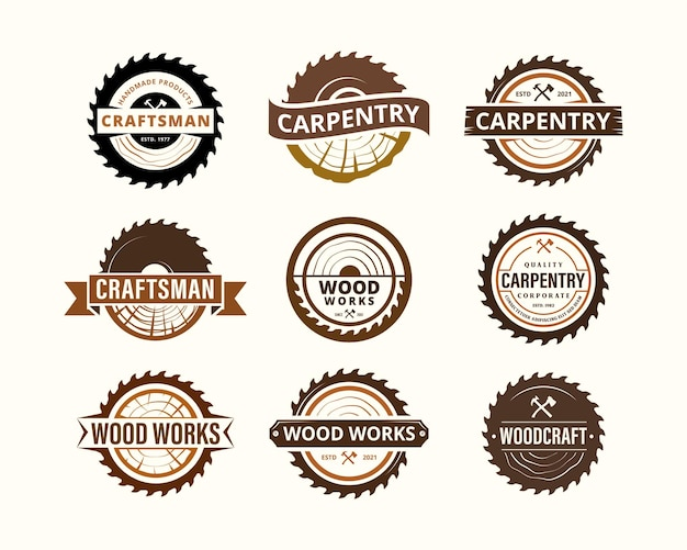 Vintage woodwork carpentry industries company logo set