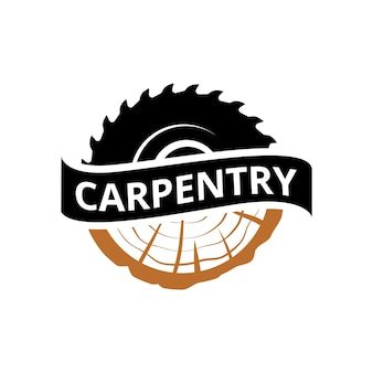 Vintage woodwork craftsman carpentry logo template