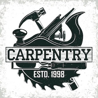 Винтажный дизайн логотипа деревообработки, штамп с принтом гранжа, эмблема креативной столярной типографии