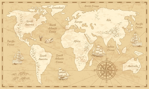Vintage world map. ancient world antiquity paper map with continents ocean sea old sailing globe background