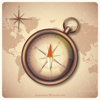 Vintage world map background with compass